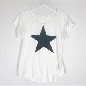 SUNDRY Star Short Sleeve White Pima Tee Top 3 L